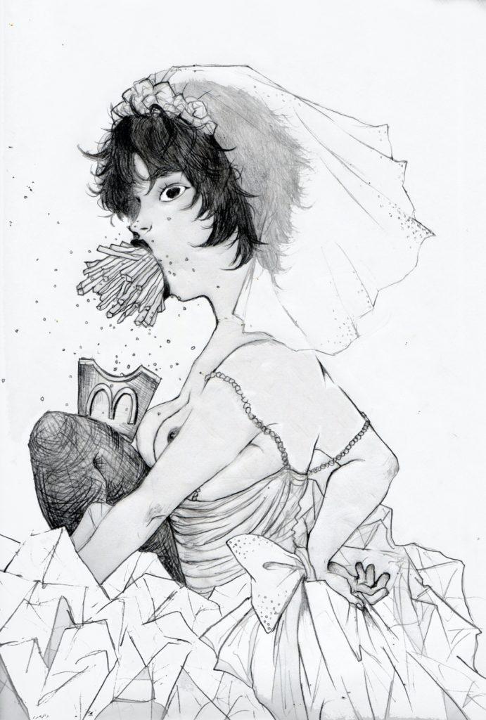 「錦鯉がのりうつった新婦」 2013年4月作成 (WEB小説:「煩悩サンスクリット」挿絵)
