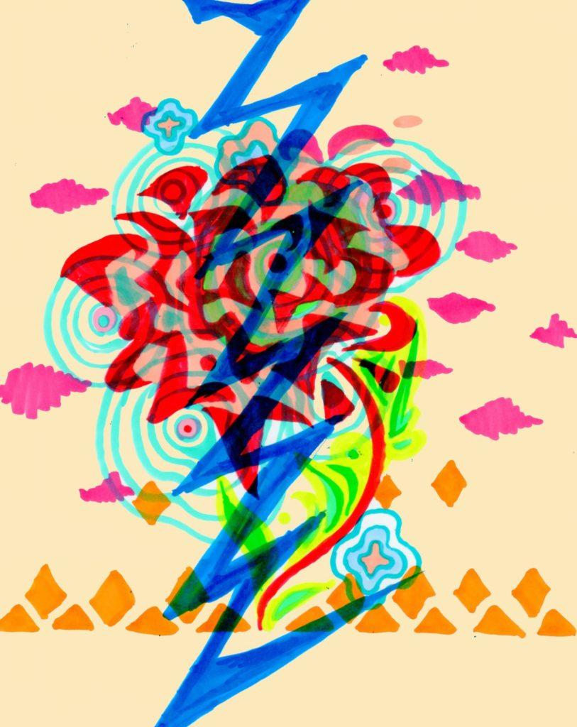「海の薔薇に稲妻」 2013年10月作成 (WEB小説:「煩悩サンスクリット」挿絵)