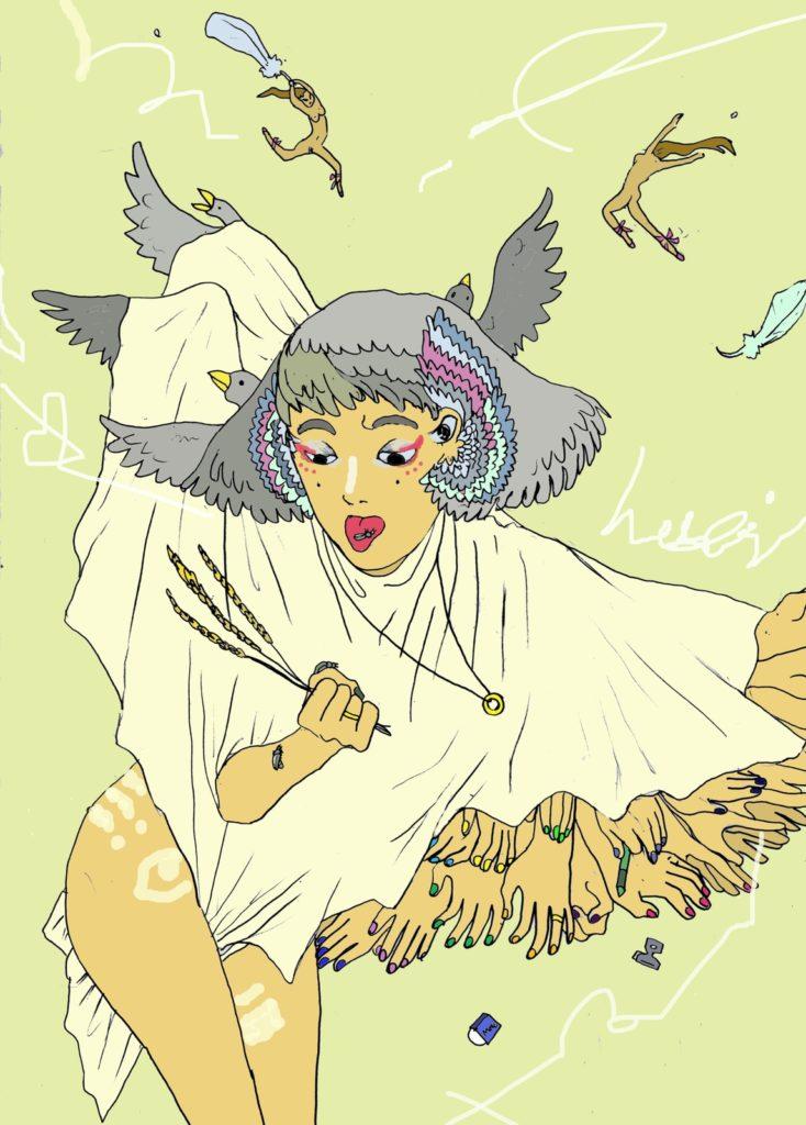「鳥族の化け物娘」 2014年1月作成 (WEB小説:「煩悩サンスクリット」挿絵)
