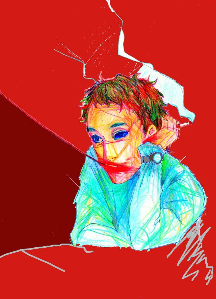 「喫茶店で待つ人」 2014年3月作成 (WEB小説:「煩悩サンスクリット」挿絵)