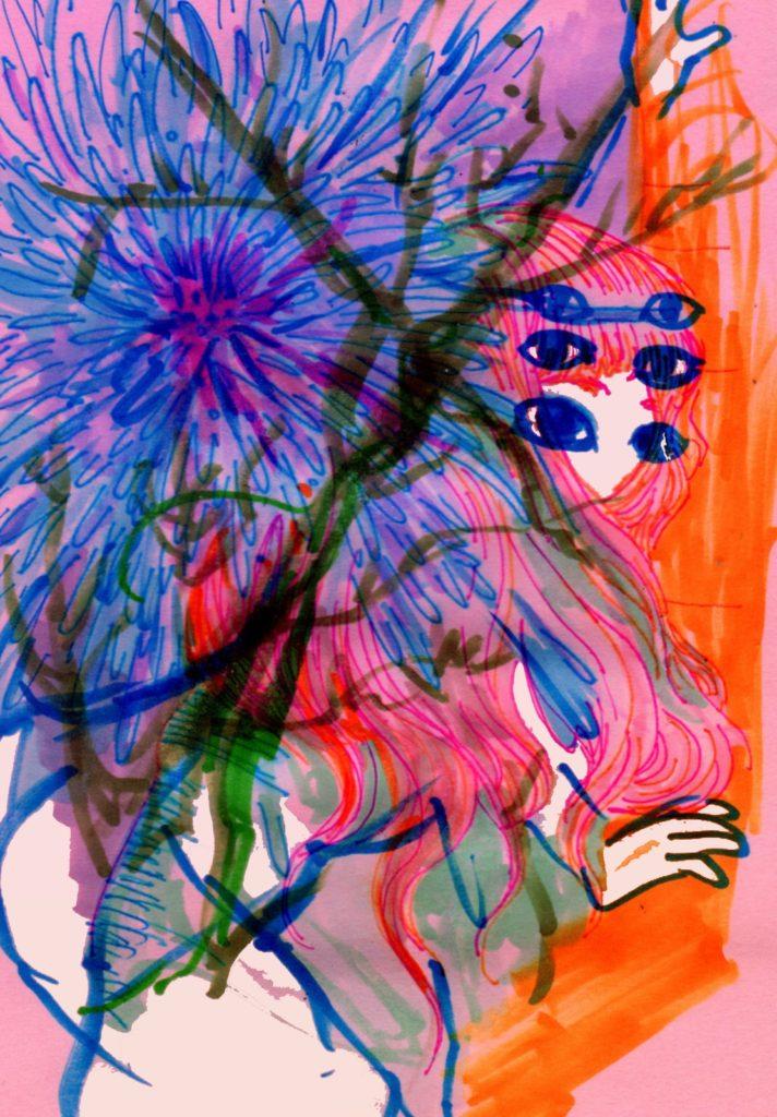 「路上の気狂い」 2014年4月作成 (WEB小説:「煩悩サンスクリット」挿絵)