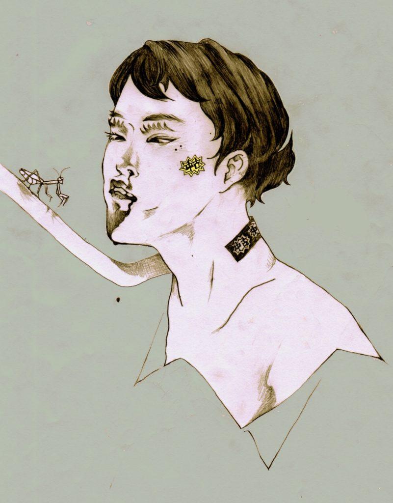 「カマキリ」 2014年9月作成 (WEB小説:「煩悩サンスクリット」挿絵)