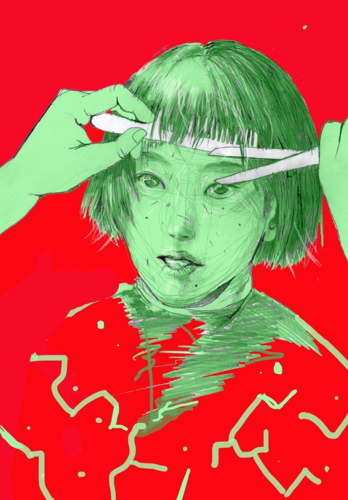 「切」 2015年11月作成 (WEB小説:「煩悩サンスクリット」挿絵)