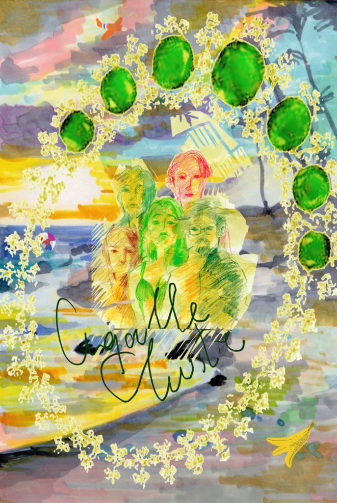 アガサ・クリスティー「海浜の午後」 /  小さな名(迷)画を残暑見舞いに。この絵葉書、fromサスペンスの女王 /  なんて、色が、いいのだろう。ブルジョワ層の休暇に盗難事件。盗まれた物・エメラルドのネックレス...ここは現場、『海浜の午後』。なにもかも不審な登場人物達の行動についていきながら、作者の描く景色を、私は魅せられている。季節が進むおおらかな変化、例えば...夏から秋に向かう海。一日という刻刻とした時間が見せる変化、例えば...昼から夕に向かう太陽の光。そこにエメラルドの鮮烈な色が事件という形で落とされる。捉えがたいグラデーションの世界を、サスペンスという名の急する線がビビッドな絵に仕上げていく。最後の一筆である、泥棒アーサー・サマーズの白星はまるで、冷たい海が飲み込みそこねた白い貝殻のようにささやかで洒落ている。秋が忘れた白で締めた彼女の選択、この豊かな絵を大作ではなく知人に宛てた残暑見舞いのように軽やかで、さらに嬉しいものにしているのではないだろうか・・・なあ?ワトソン君。 /  2018年10月作成 (雑誌えんぶ:小野寺ずるのillustration&essay「お芝居のアソコ」連載)